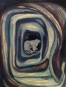"""bear, unframed, 15.5""""x20"""", $ 45"""